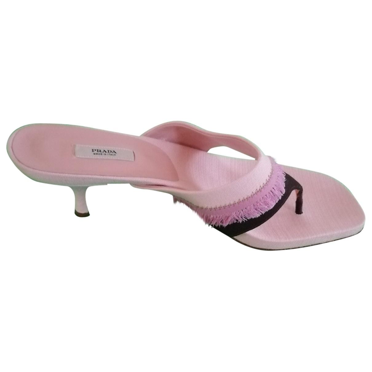 Prada - Sandales   pour femme en toile - rose