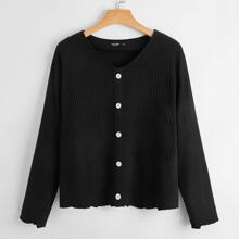 Plus Waffle Knit Button Detail Tee