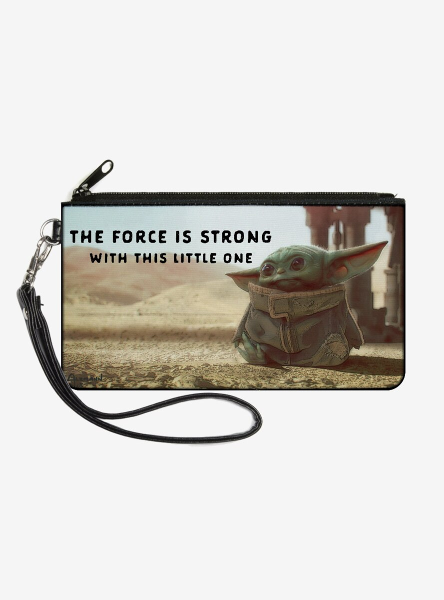 Star Wars The Mandalorian The Child The Force is Strong Wallet Canvas Zip Clutch