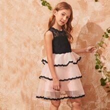 Girls Lace Bodice Layered Organza Ruffle Dress