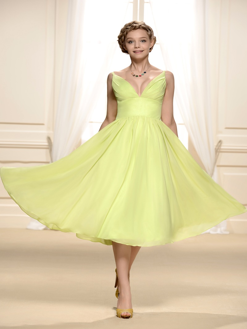 Ericdress Straps Chiffon Tea-Length Bridesmaid Dress