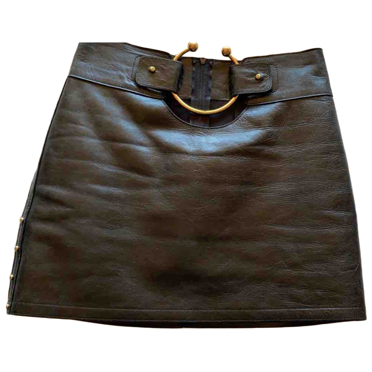 Anthony Vaccarello - Jupe   pour femme en cuir - noir