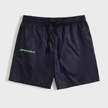 Men Letter Graphic Track Shorts