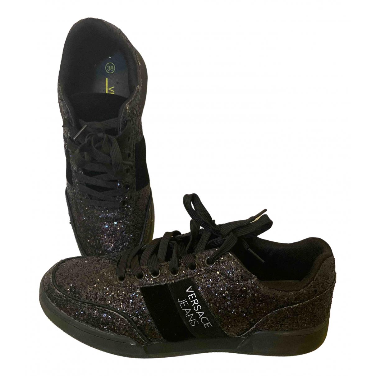 Versace Jean - Baskets   pour femme en a paillettes - noir