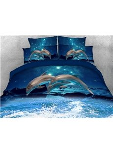 Jumping Dolphins at Night Soft Warm Duvet Cover Set 4-Piece 3D Animal Bedding Set