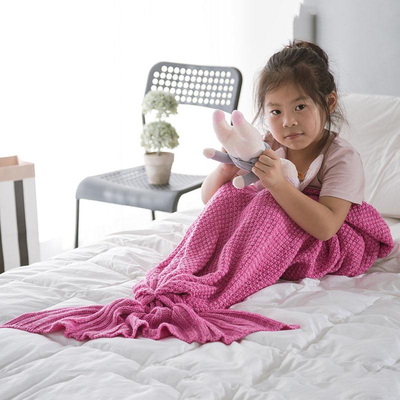Mermaid Knitting Bed Blanket Acrylic Blanket 7 Colors Colorfast Wear-resistant Endurable Skin-friendly
