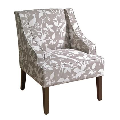 BM194012 Fabric Upholstered Wooden Accent Chair with Swooping Arms  Gray and