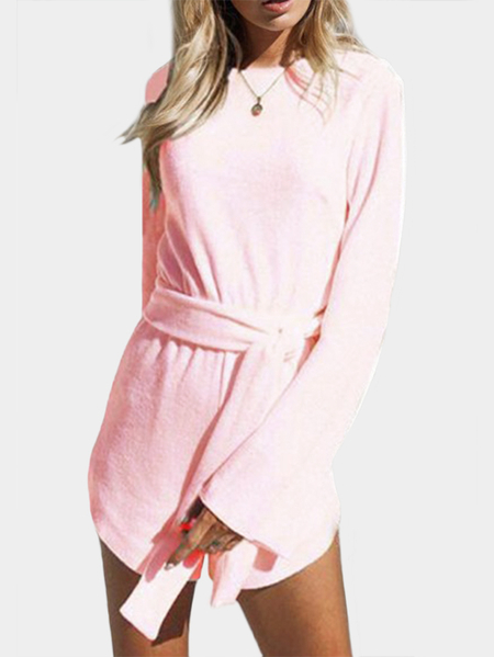 Yoins Pink Backless Long Sleeves Playsuits with Belt