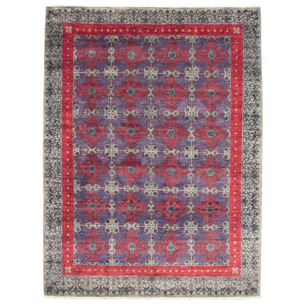 ECARPETGALLERY  Hand-knotted Lahore Finest Collection  Grey Wool Rug - 9'1 x 12'1 (9'1 x 12'1 - Grey)