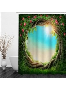 3D Green Branches Twist Polyester Waterproof Antibacterial and Eco-friendly Shower Curtain