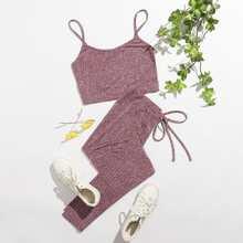 Strick Crop Cami Top & Leggings mit Knoten