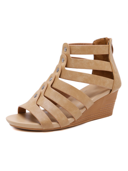 Milanoo Woman Wedge Sandals Gorgeous PU Leather Buckle Open Toe Skid Resistant