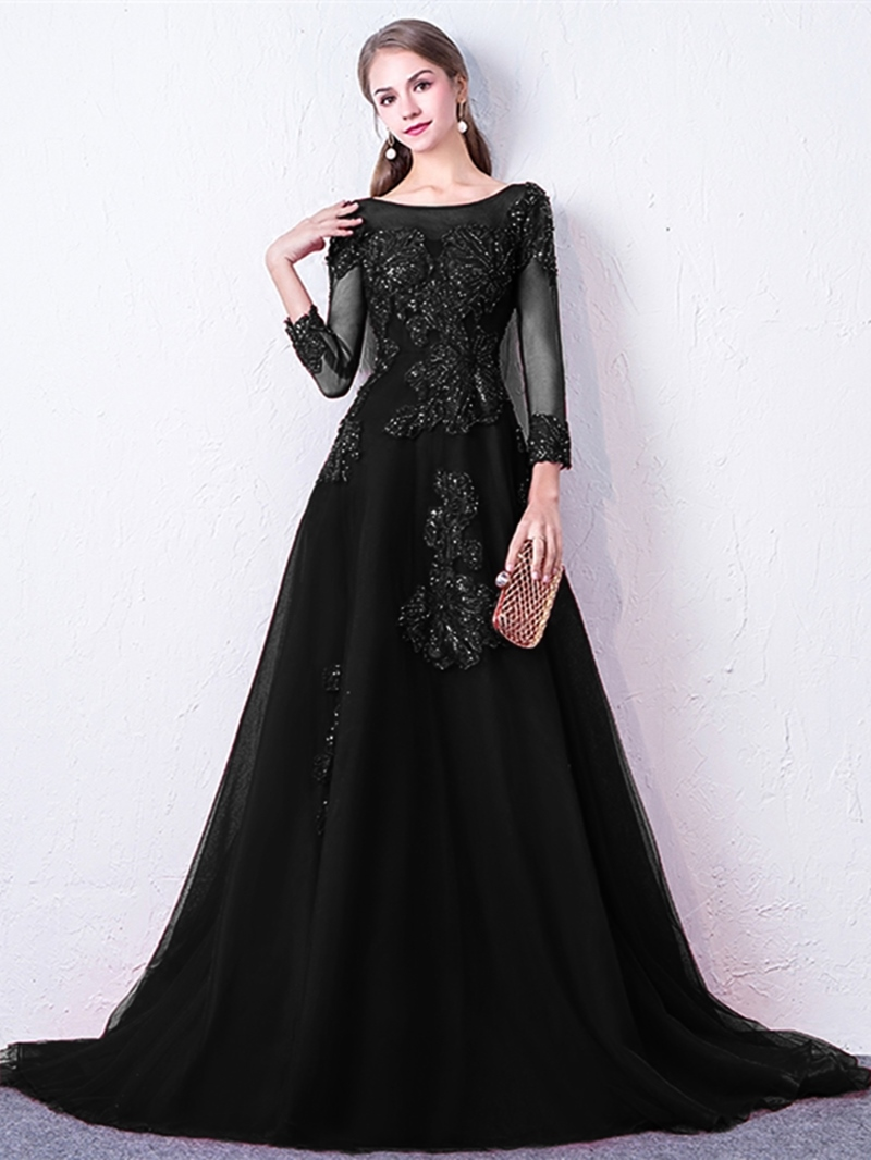 Ericdress A Line Long Sleeve Evening Dress With Applique