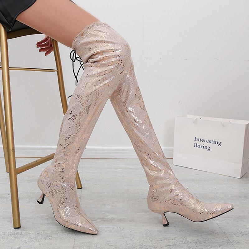 Ericdress Hidden Elevator Heel Slip-On Color Block Sexy Boots