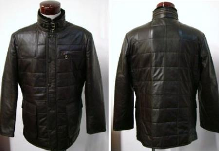 Mens Black Lambskin Leather Quilted Coat