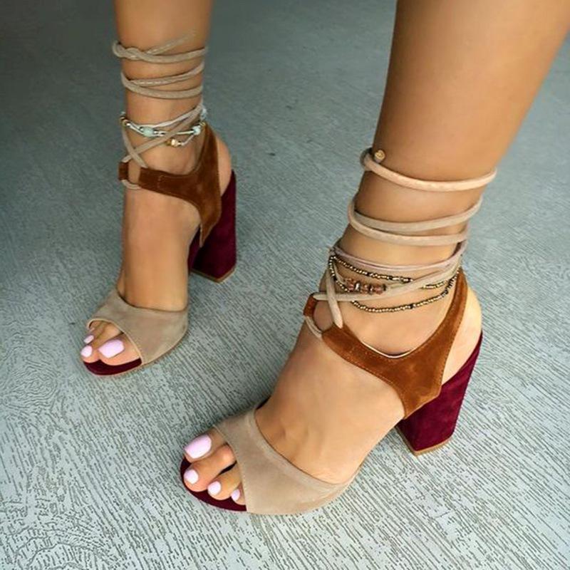Ericdress Color Block Chunky Heel Sandals