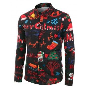 Plus Size Christmas Cartoon Print Button Up Shirt