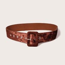 Rectangle Buckle Velvet Belt