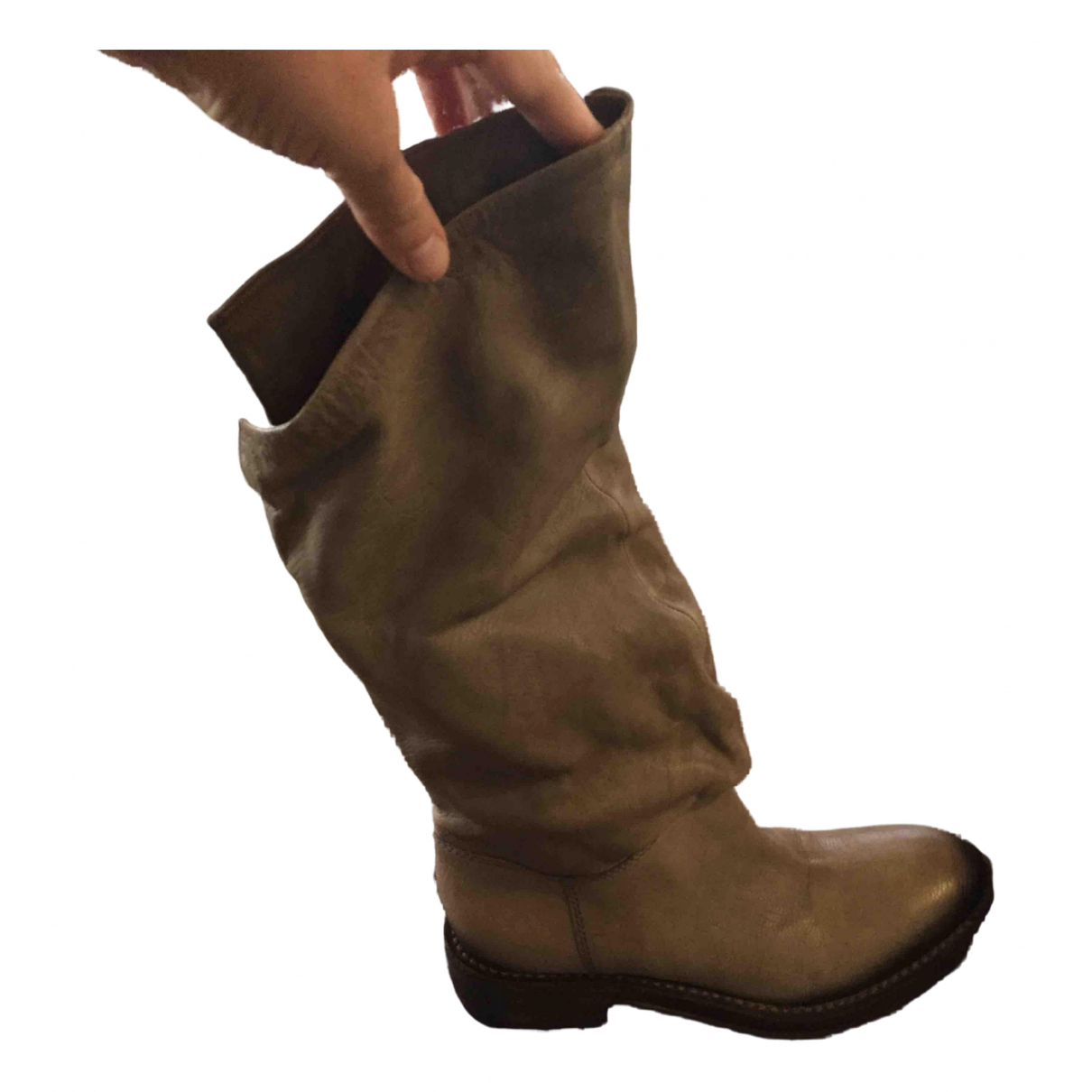 Vic Matié N Beige Leather Boots for Women 39 IT