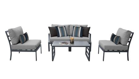 Lexington LEXINGTON-05d-GREY 5-Piece Aluminum Patio Set 05d with1  Left Arm Chair 1  Right Arm Chair  2 Armless Chairs and 1 Coffee Table - Ash and