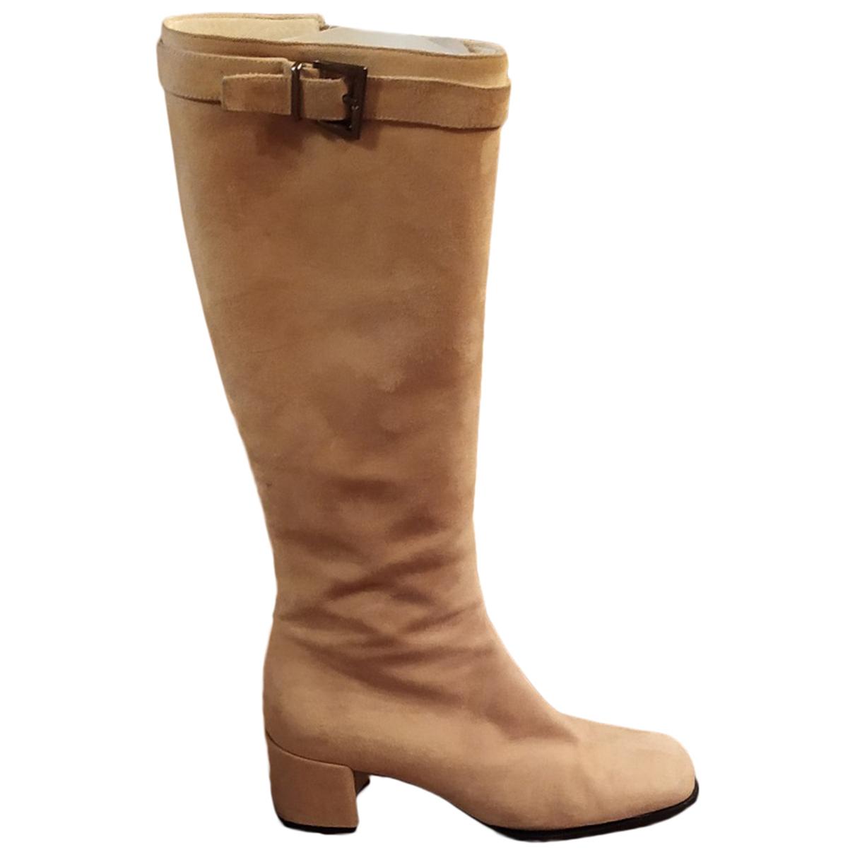 Lella Baldi \N Beige Suede Boots for Women 37.5 EU