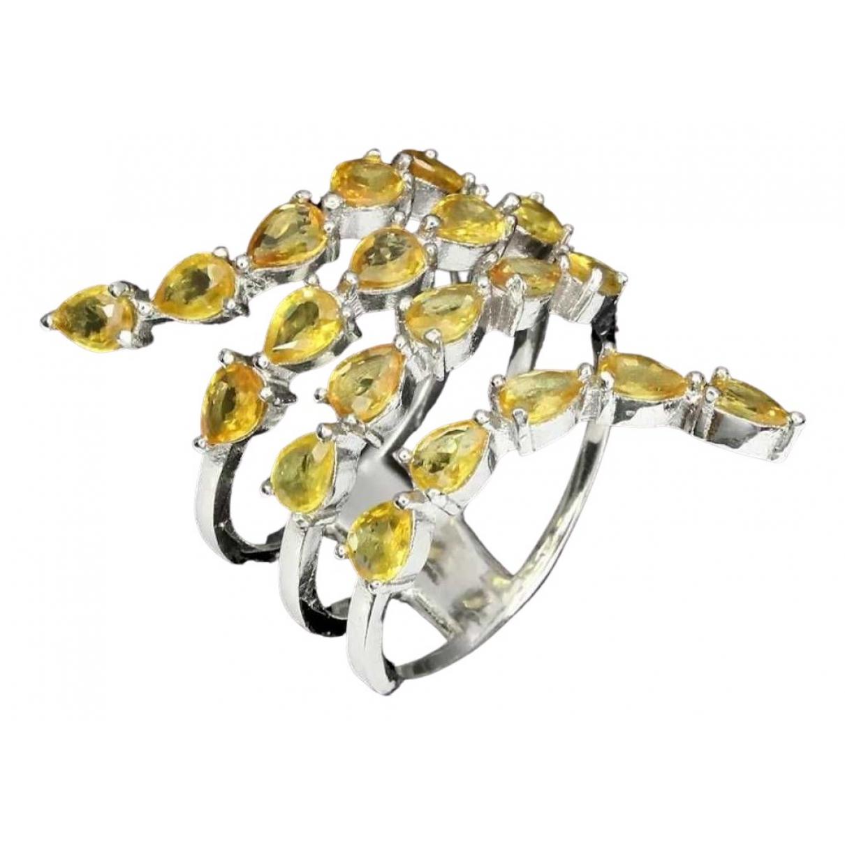 - Bague Saphir pour femme en argent - jaune
