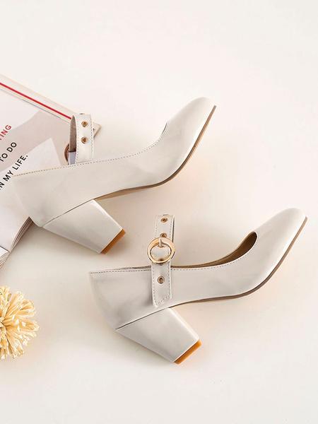 Milanoo Women\'s Mid-Low Heels Vintage Mary Jane Retro Round Toe Chunky Heel Pumps