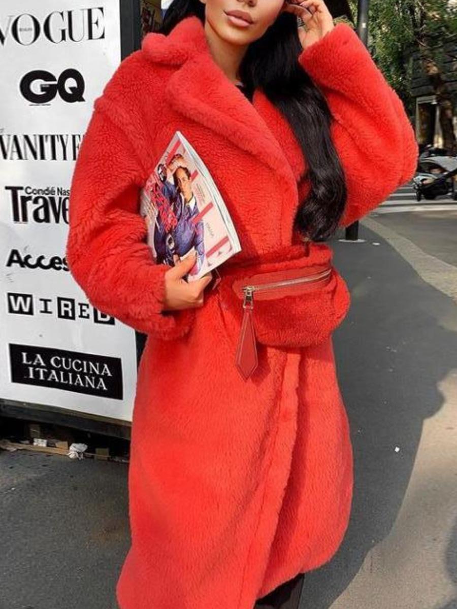 LW lovely Trendy Turndown Collar Basic Red Coat