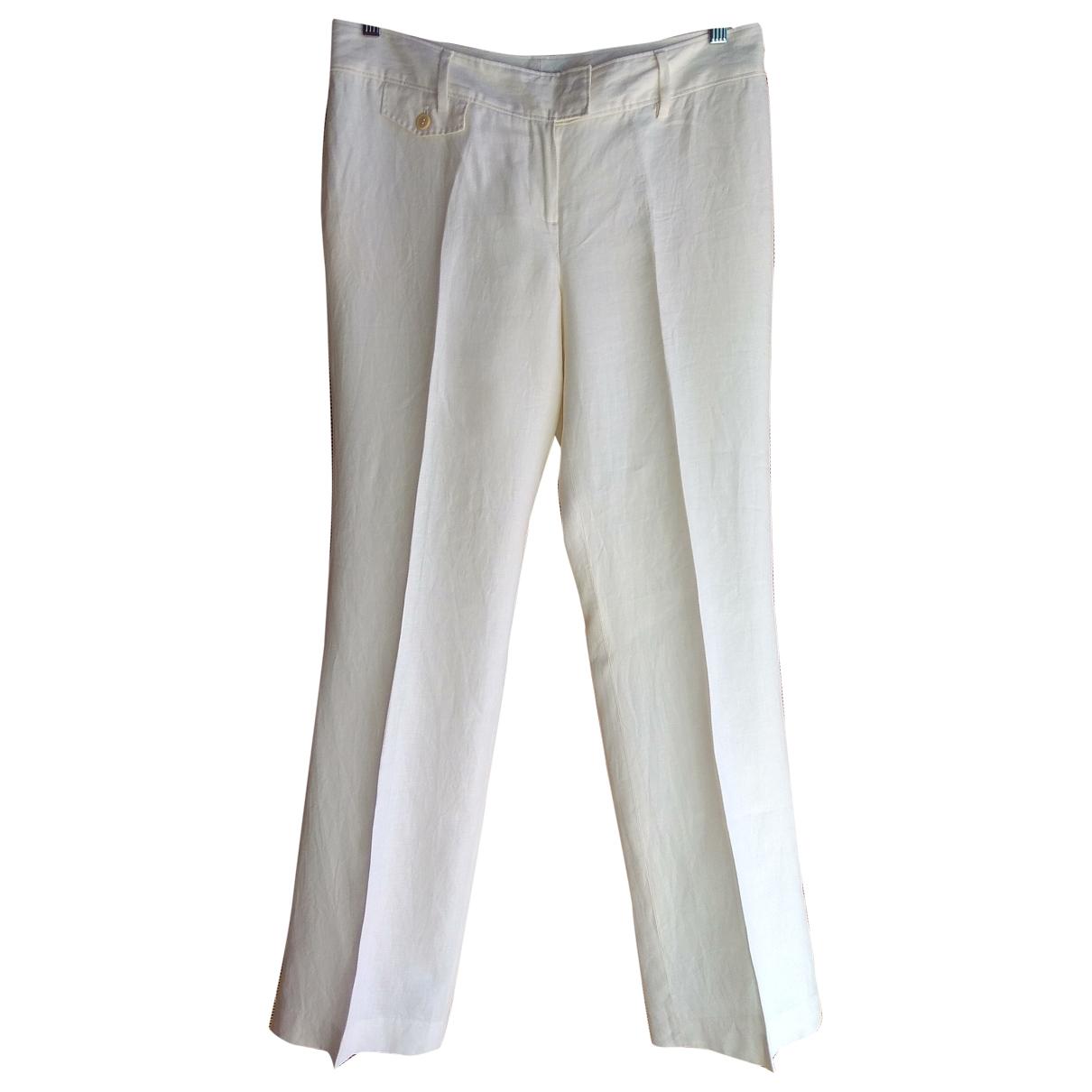 Massimo Dutti \N Ecru Linen Trousers for Women 42 FR