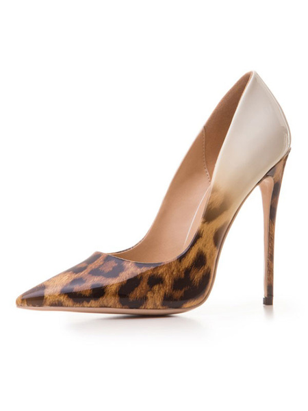 Milanoo Women High Heels Pointed Toe Leopard Print Stiletto Heel Nude High Heel Shoes