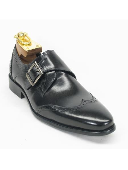Mens Monk Strap Etching Design Wing Toe Style Fashion Black Shoe