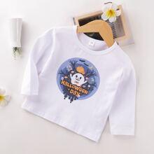 Kleinkind Maedchen T-Shirt mit Halloween Muster