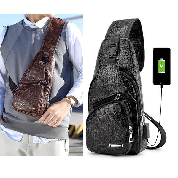 Men Resistant Anti Theft Crocodile Pattern Chest Bag