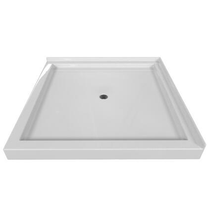 SBDT-4848-RT-WHT Double Threshold White Acrylic Center Drain Shower Base Right Hand