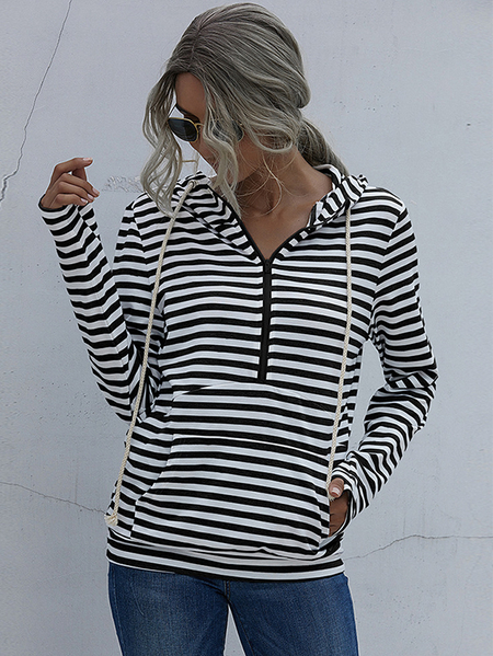 Yoins Striped Pocket Design Zip Front Pullover Long Sleeves Hoodie