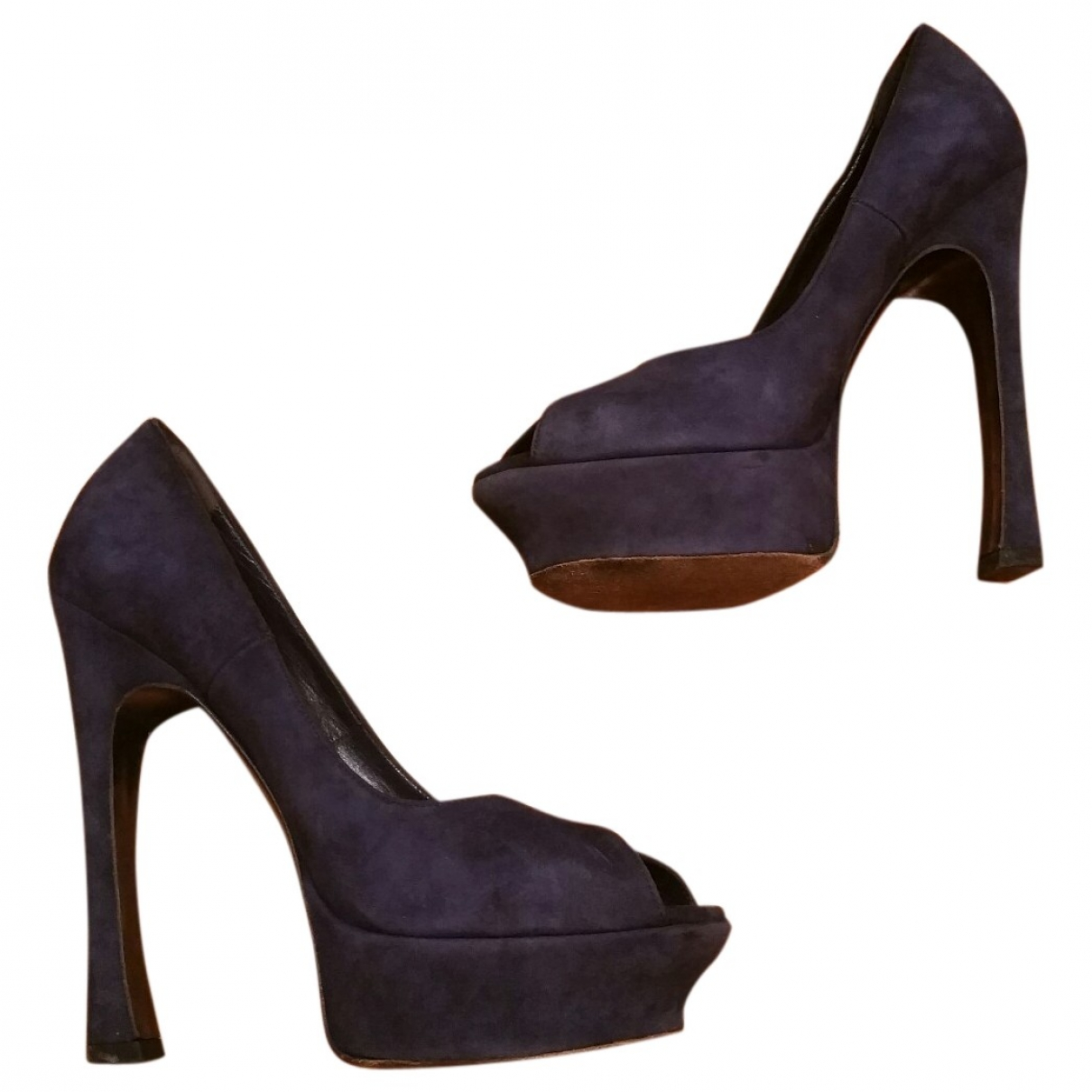 Yves Saint Laurent Palais Blue Suede Heels for Women 38 EU