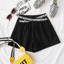 Letter Graphic Tape Shorts
