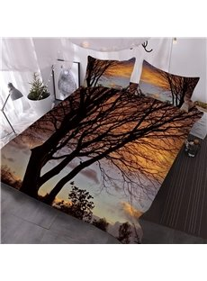 Unique Tree and Sunset Digital Printed 3-Piece 3D Comforter Sets