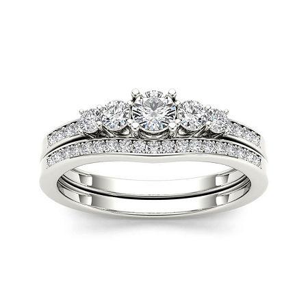 1/2 CT. T.W. Diamond 14K White Gold Bridal Ring Set, 8 1/2 , No Color Family