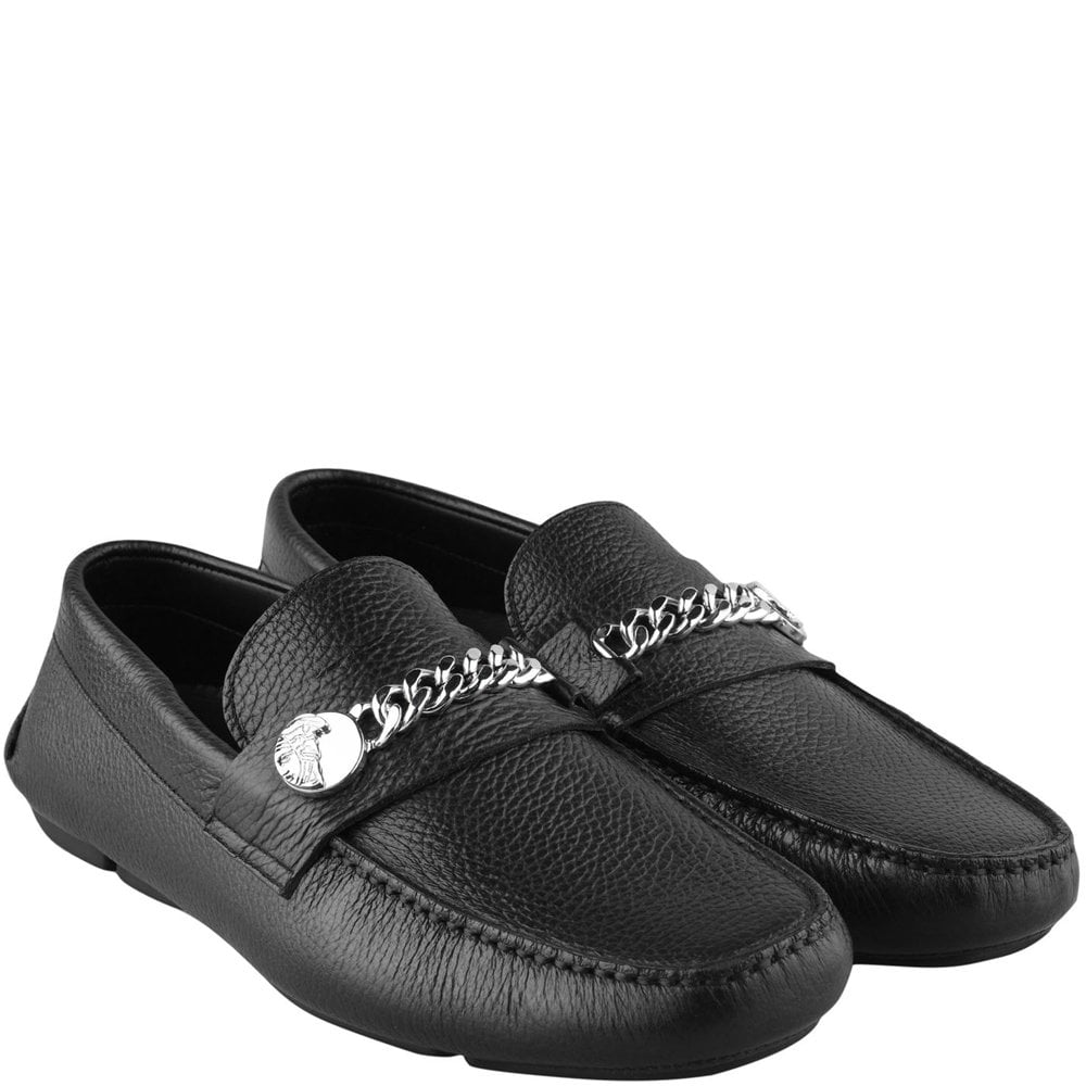 Versace Collection Medusa Chain Logo Loafers Colour: BLACK, Size: 7