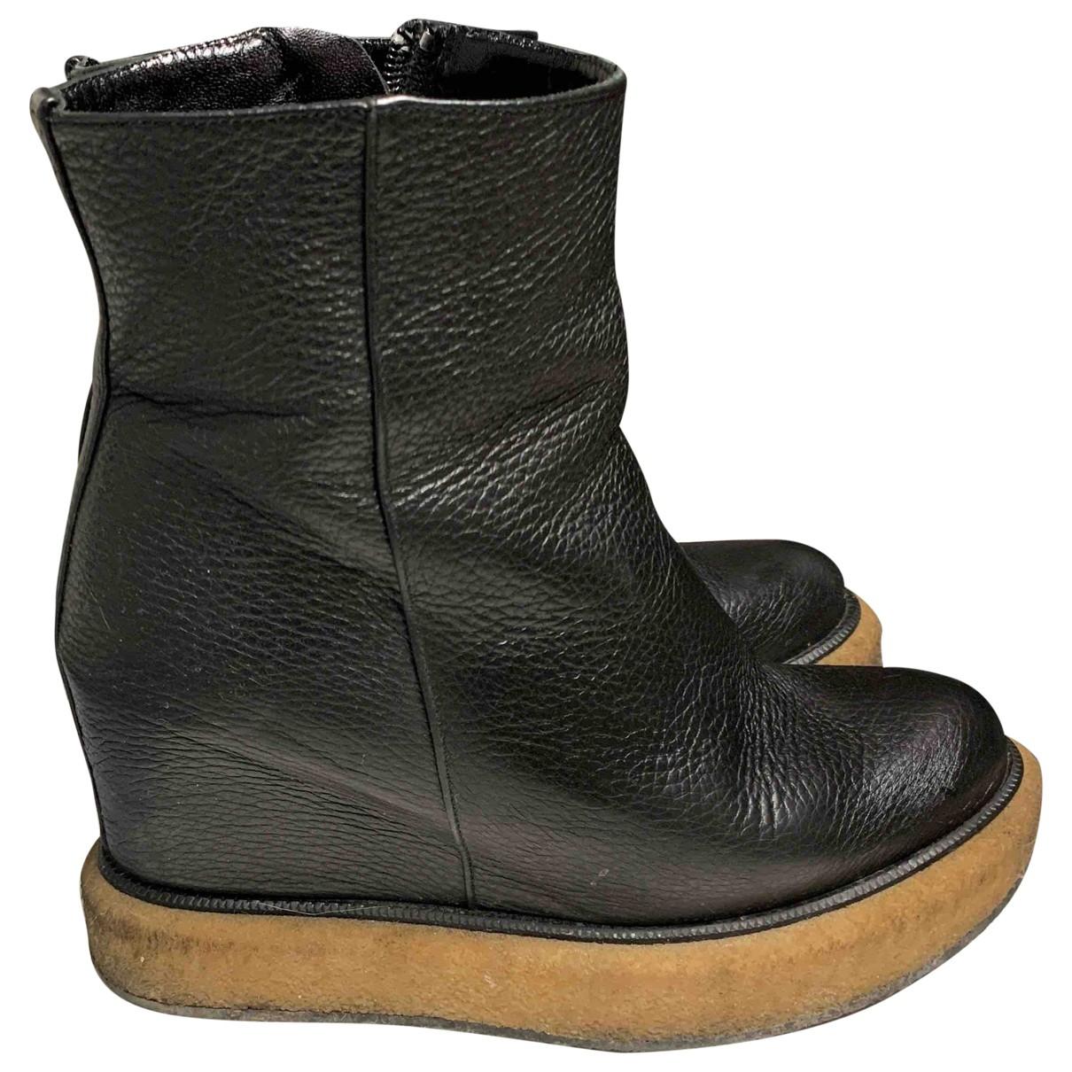 Paloma Barcelo - Boots   pour femme en cuir - noir