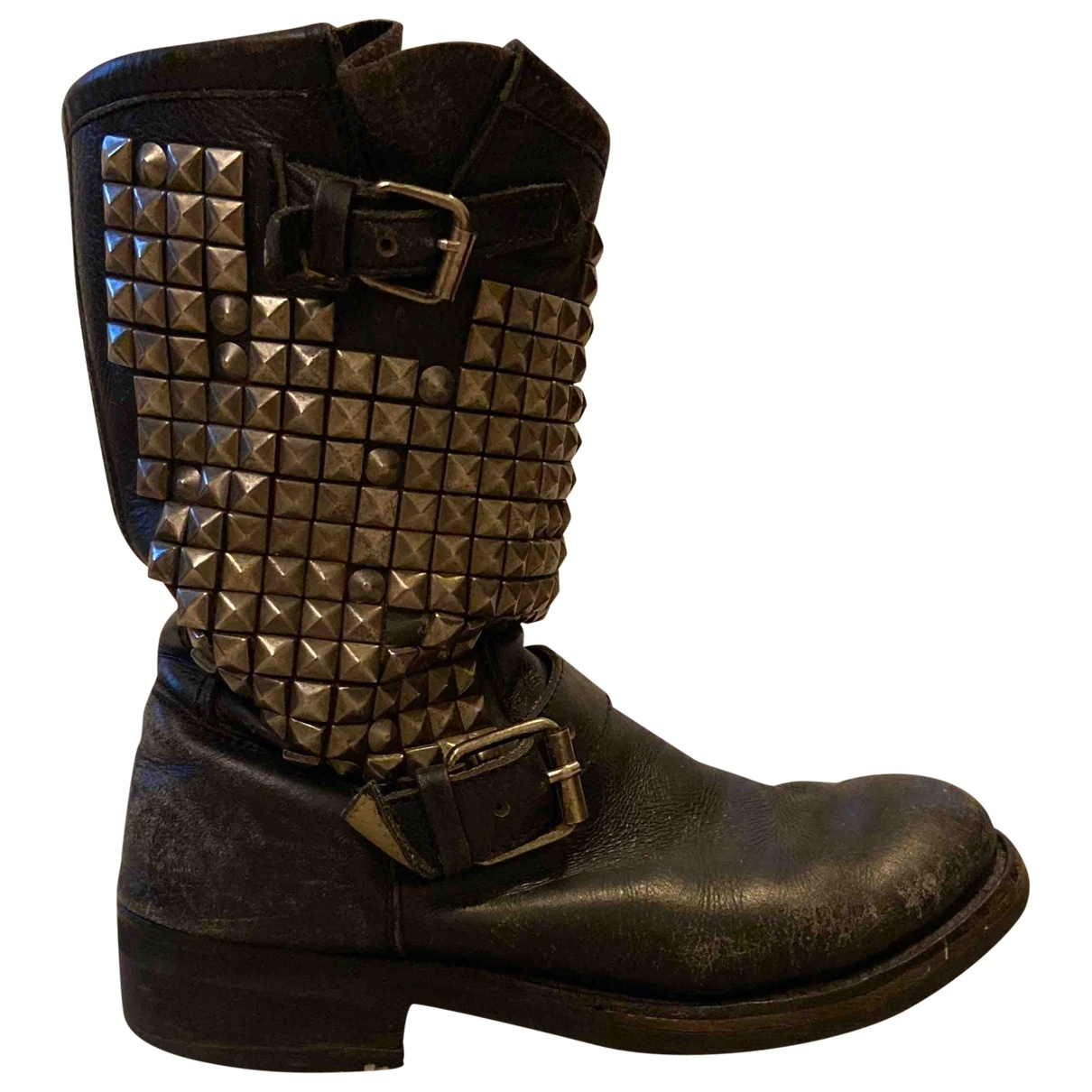 Ash \N Black Leather Boots for Women 38.5 EU