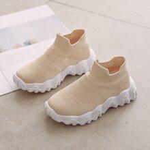 Maedchen minimalistische Strick Slip On Sneakers