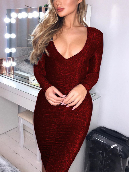 Yoins Ruched Glitter Deep V Neck Long Sleeves Dress