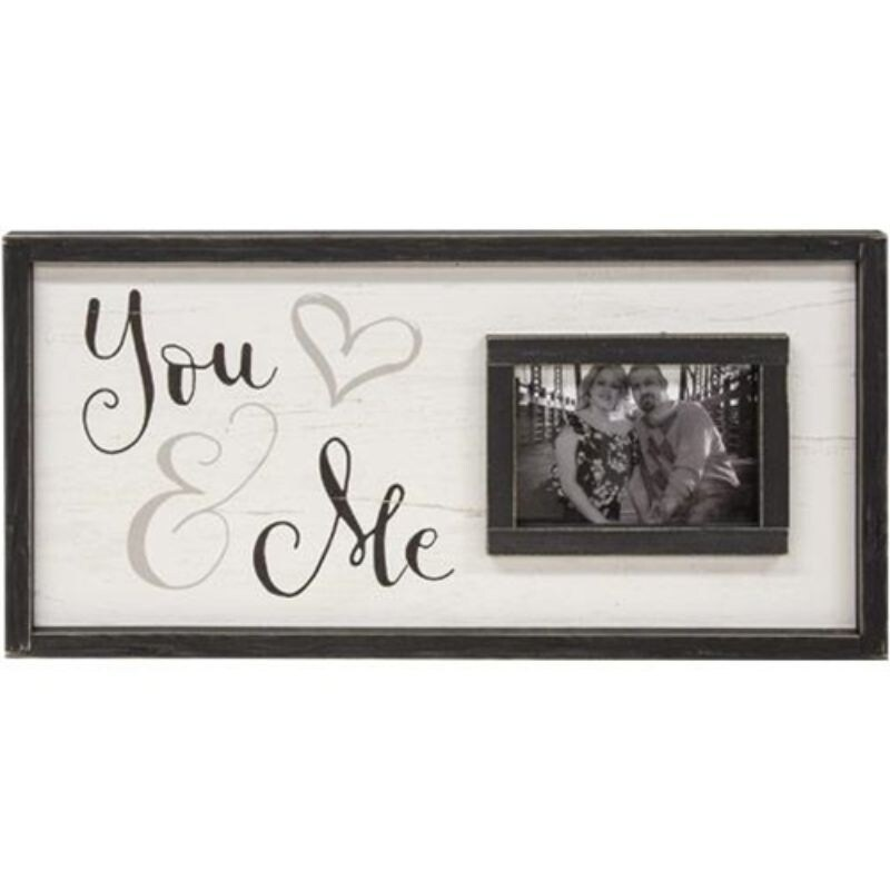 You & Me Framed Sign With Picture Frame 12x24 - Off-white (Off-white)