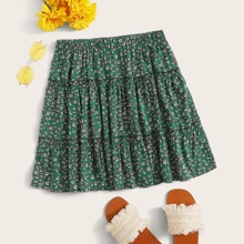 Plus Ditsy Floral Frill Trim Flippy Skirt
