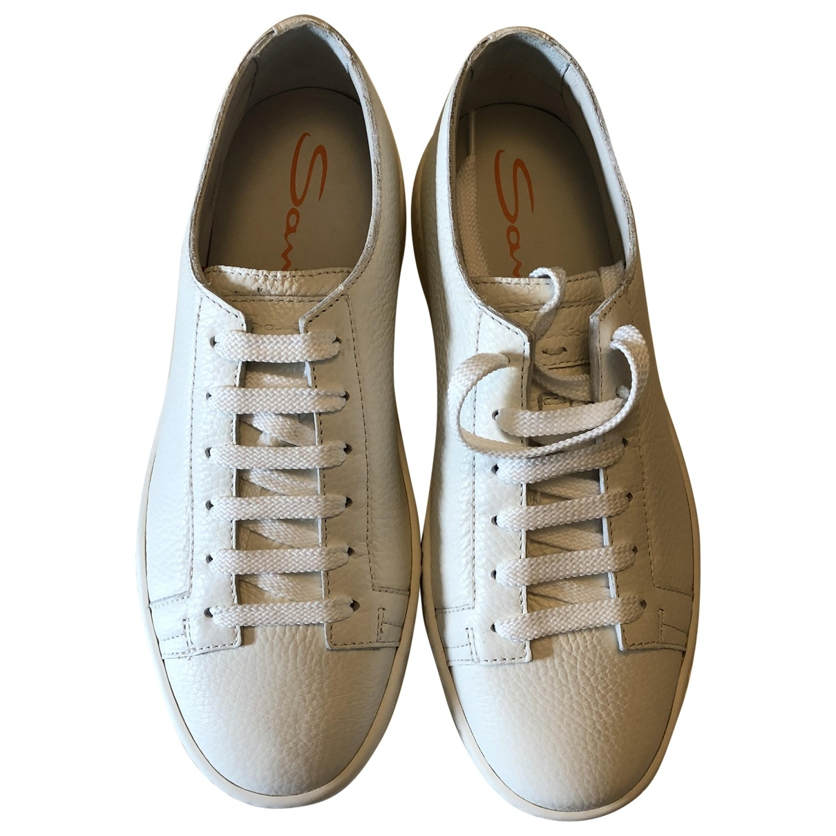 Santoni \N White Leather Trainers for Men 5 UK
