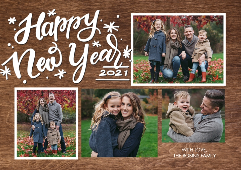 New Year's Photo Cards 5x7 Cards, Premium Cardstock 120lb with Scalloped Corners, Card & Stationery -New Year 2021 Gold Frames by Tumbalina