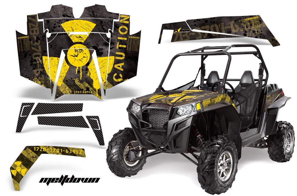 AMR Racing  Full Custom UTV Graphics Decal Kit Wrap Meltdown Yellow/Black Polaris RZR XP 900 11-14