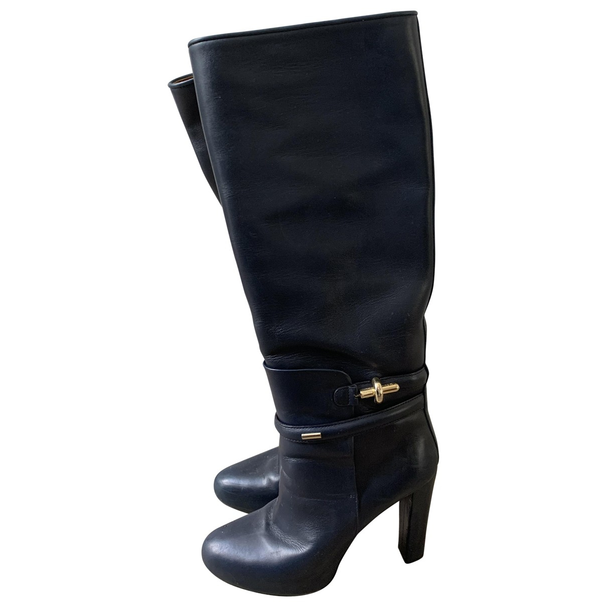 Balenciaga - Bottes   pour femme en cuir - marine